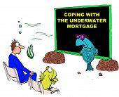 image of seminar  - Business cartoon showing a seminar being held underwater by a fish and attended by a man and a fish - JPG