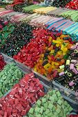 foto of stall  - macro close up of Sweets in market stall  - JPG