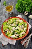 image of liver  - Vegetable salad with cod liver seasoned with lemon sauce - JPG