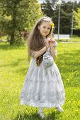 pic of polite girl  - Little girl in princess dress is daydreaming - JPG