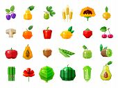 foto of pawpaw  - set of colored icons on the theme of vegetables and fruits - JPG