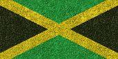 image of jamaican flag  - Jamaica flag texture on green grass - JPG