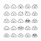 pic of emoticons  - Collection of difference emoticon icon of cloud icon on the white background vector illustration - JPG