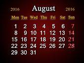 picture of august calendar  - beautiful claret calendar on August of 2016 - JPG