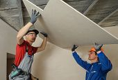 stock photo of crew cut  - Drywall Installers - JPG