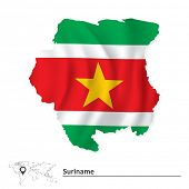 stock photo of suriname  - Map of Suriname with flag  - JPG