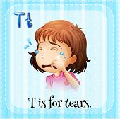 picture of letter t  - Flashcard letter T is for tears - JPG