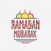 pic of ramadan mubarak card  - Stars decorated colorful wishing text Ramadan Mubarak with upper part of mosque on grey background - JPG