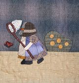foto of applique  - Sunbonnet sue applique quilt with two little girls - JPG