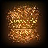 stock photo of eid mubarak  - Beautiful greeting card or invitation card design with golden text Jashn - JPG