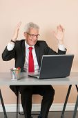 image of chokers  - Senior man happy while working with laptop at the office - JPG