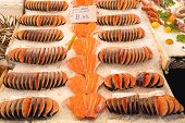 stock photo of stall  - Filets of Salmon at Fish Market Stall - JPG
