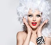 image of wig  - Funny Surprised Woman in white feather wig - JPG