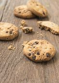 picture of chocolate-chip  - Cookies chocolate or chocolate chips on a wooden table - JPG