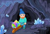 stock photo of gnome  - Illustration of gnome carries a wheelbarrow full of quartz crystals close to cave - JPG