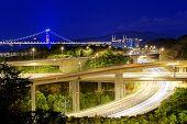foto of tsing ma bridge  - Highway traffic road and tsing ma bridge at night - JPG