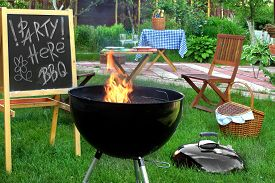 stock photo of sign-boards  - Backyard BBQ Grill Party Scene - JPG