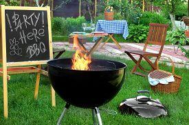 pic of chalkboard  - Backyard BBQ Grill Party Scene - JPG