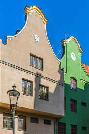 image of tenement  - Facades of ancient tenements in the old town in Gdansk - JPG