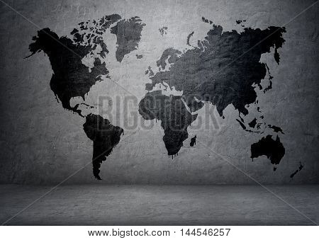 poster of Black-colored world map on concrete wall. Continents and islands. Planet Earth. Global communication. Geography and mapping.