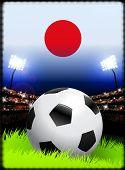 Постер, плакат: Флаг Японии и мяч на стадион фон оригинальные иллюстрации