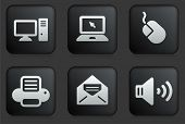 Computer Icons on Square Black Button Collection Original Illustration