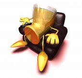 picture of beer mug  - Beer watching television - JPG