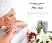 picture of nude women  - Attractive woman getting spa treatment isolated on white - JPG