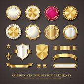 collection of golden vector design elements - blank seals, medals, shields / coats of arms, badges,  poster