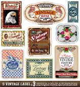 Vintage Labels Collection - 9 design elements with original antique style -Set 3
