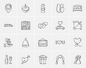 Постер, плакат: Wedding sketch icon set for web mobile and infographics Hand drawn wedding icon set Wedding vecto