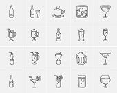 Постер, плакат: Drinks sketch icon set for web mobile and infographics Hand drawn drinks icon set Drinks vector i