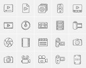 Media sketch icon set for web, mobile and infographics. Hand drawn media icon set. Media vector icon poster