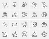 Pets sketch icon set for web, mobile and infographics. Hand drawn pets icon set. Pets vector icon se poster