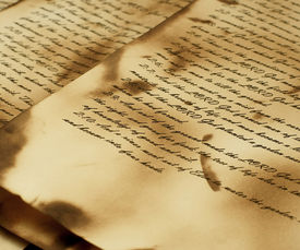 stock photo of annal  - Ancient and vintage handwritten Bible pages - JPG