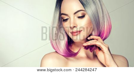 poster of Beautiful Hair Coloring Woman. Fashion Trendy Haircut.ombre Bob Short Hairstyle. Blond Model With Sh