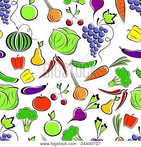 Постер, плакат: Овощи и фрукты , холст на подрамнике