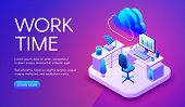 Work And Cloud Internet Vector Illustration Of Smart Office Or Workplace With Router Connection. Clo poster