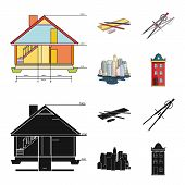 Drawing Accessories, Metropolis, House Model. Architecture Set Collection Icons In Cartoon, Black St poster
