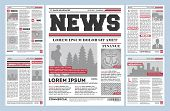 Vintage Newspaper Journal Template. Typography Design With Columns, Daily News Page Layout, Info Pre poster
