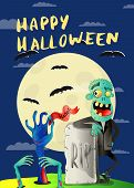 Happy Halloween Poster With Zombie In Cemetery. Holiday Party Banner With Undead Man, Festive Horror poster