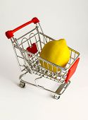 Metal Basket With A Ripe Fresh Lemon In It. Food Vegetable Consumption, Shop Store Trolley, Shopping poster