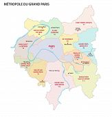 Metropolis Of Greater Paris Administrative And Political Vector Map, France poster