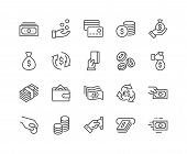 Simple Set Of Money Related Vector Line Icons. Contains Such Icons As Wallet, Atm, Bundle Of Money,  poster