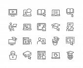Simple Set Of Online Education Related Vector Line Icons. Contains Such Icons As Video Tutorial, E-b poster