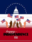 4th Of July Independence Day Placard, Banner Or Greeting Card. Patriotic American Background With Ab poster