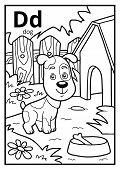 Coloring Book For Children, Colorless Alphabet. Letter D, Dog poster