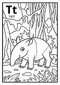 Coloring Book For Children, Colorless Alphabet. Letter T, Tapir poster