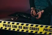 Rear View Of Man In Cuffs By Dead Body Behind Yellow Tape On Dark Background poster