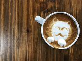 Cute Cat Face Latte Art Coffee In White Cup On Wooden Table ; Love Coffee, Cute Neko Latte Art Coffe poster